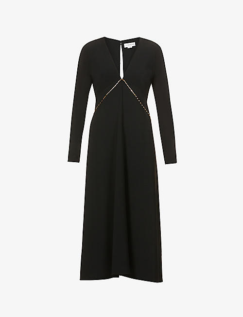 VICTORIA BECKHAM: Chain-embellished V-neck stretch-crepe midi dress