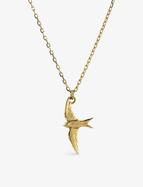 THE ALKEMISTRY: Alex Monroe Teeny Tiny Swallow 18ct gold necklace