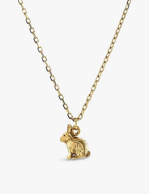 THE ALKEMISTRY: Alex Monroe Teeny Tiny Rabbit 18ct gold necklace