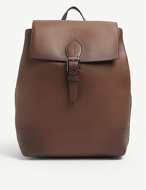 RALPH LAUREN PURPLE LABEL: Voyager buckled grained-leather backpack