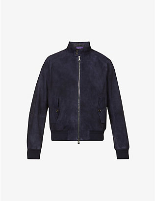 RALPH LAUREN PURPLE LABEL: Barracuda suede bomber jacket