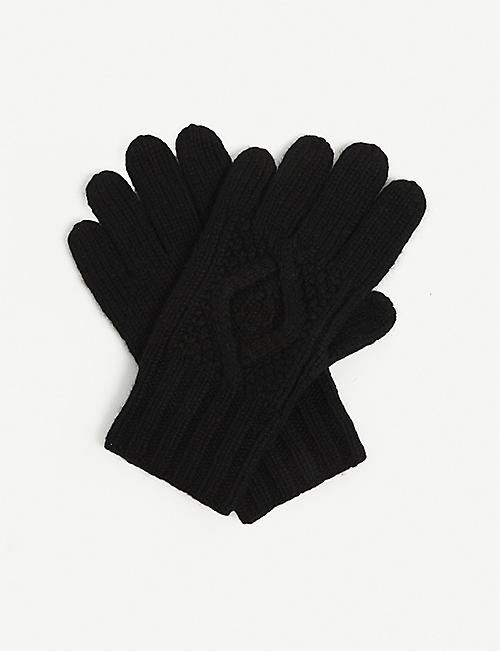 RALPH LAUREN PURPLE LABEL: Cable-knit cashmere gloves