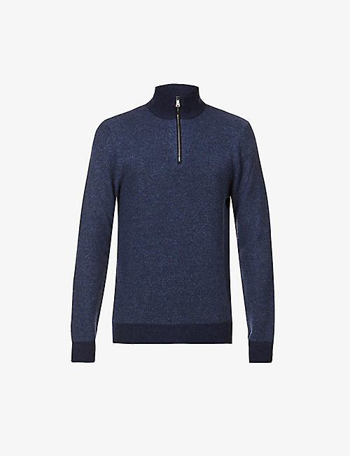 RALPH LAUREN PURPLE LABEL: Half-zip cashmere jumper