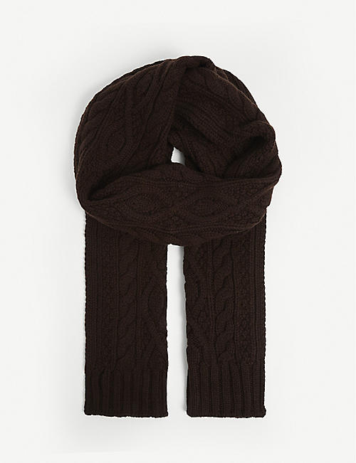 RALPH LAUREN PURPLE LABEL: Cable-knit cashmere scarf