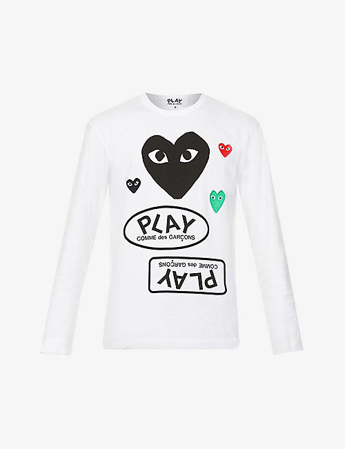 COMME DES GARCONS PLAY: Branded graphic-print cotton-jersey top