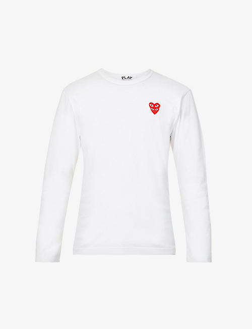 COMME DES GARCONS PLAY: Overlap heart-print cotton-jersey top
