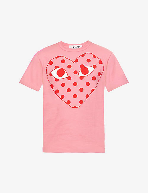 COMME DES GARCONS PLAY: Heart and polka-dot print cotton-jersey T-shirt