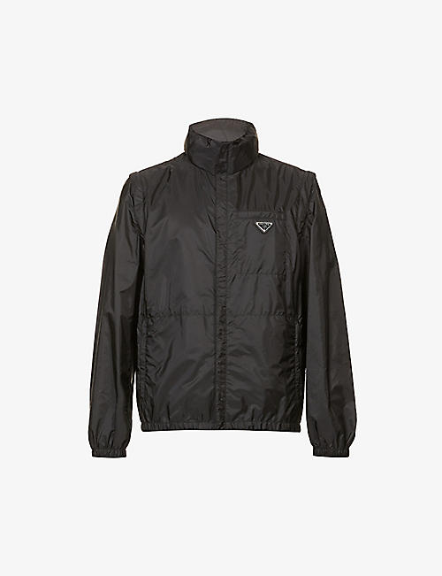 PRADA: Funnel-neck brand-patch recycled-nylon hooded jacket