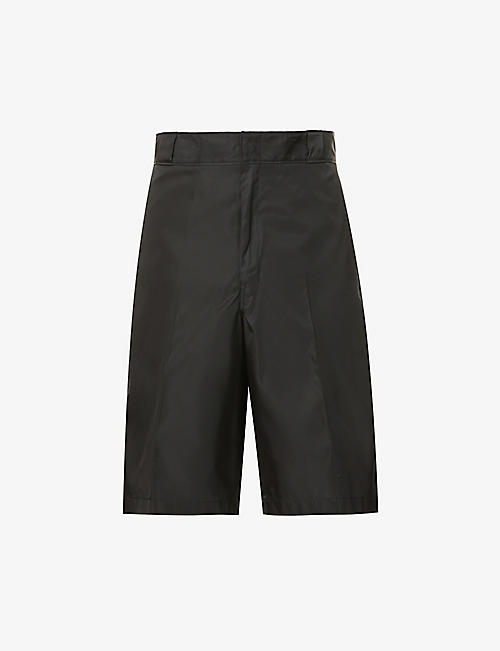 PRADA: Branded-patch high-rise recycled-nylon shorts