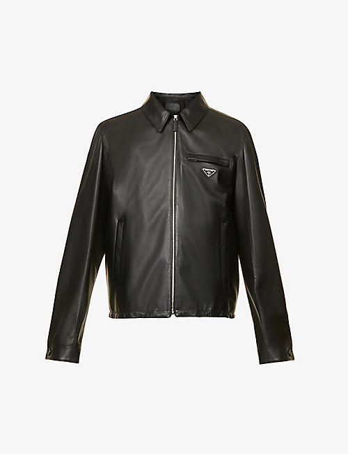PRADA: Brand-plaque drawstring-hem leather jacket