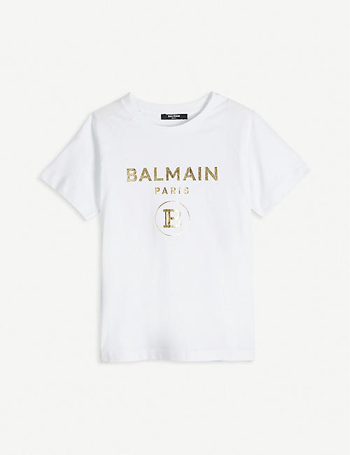 BALMAIN: Foiled logo-print cotton-jersey T-shirt 6-16 years
