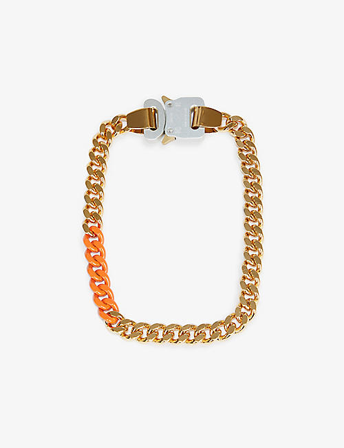 1017 ALYX 9SM: Cubic rollercoaster-buckle gold-plated brass chain necklace