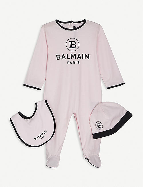 BALMAIN: Logo-print cotton baby grow set 3-9 months