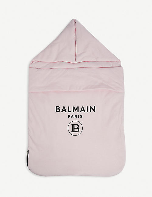 BALMAIN: Logo-print cotton nest blanket
