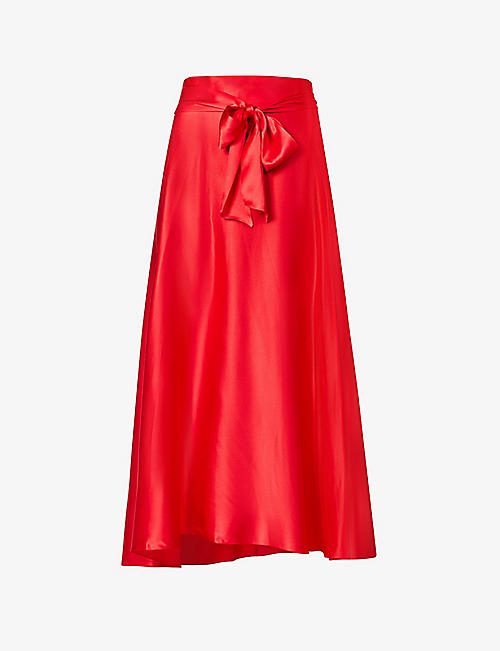 HARMUR: Wrap high-waisted silk-satin midi skirt