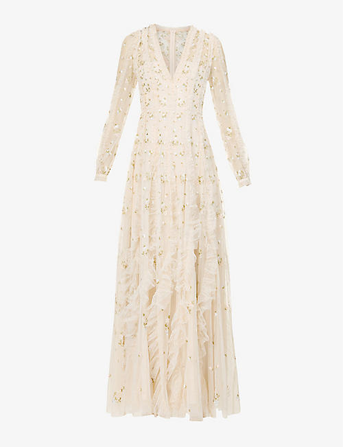 NEEDLE AND THREAD: Frieda embroidered tulle gown