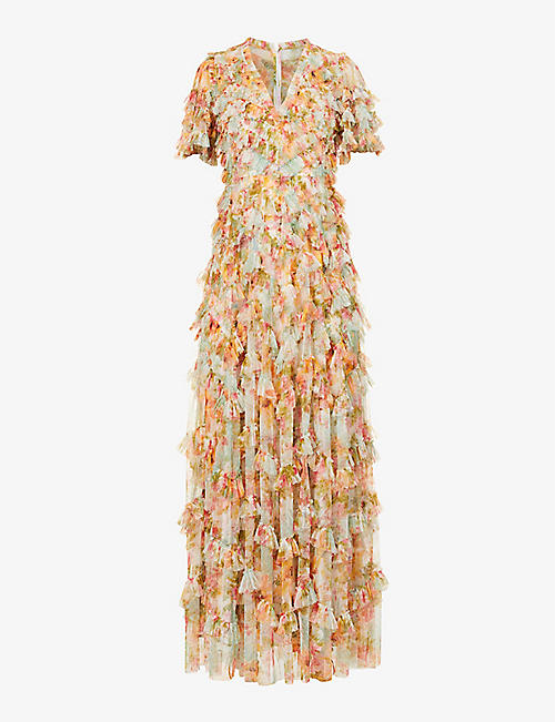 NEEDLE AND THREAD: Sunset Garden floral-print tulle gown