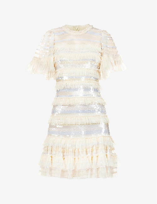 NEEDLE AND THREAD: Ariana sequin-embellished tulle mini dress