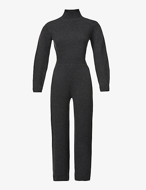 THEORY: Funnel-neck wool-blend jumpsuit