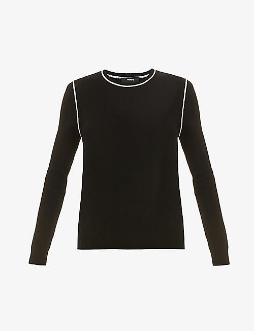 THEORY: Contrast-trim cashmere jumper