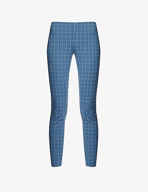 THEORY: Checked high-rise stretch-jersey leggings