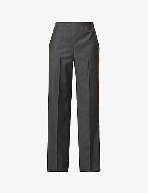 THEORY: Wide-leg high-rise wool trousers