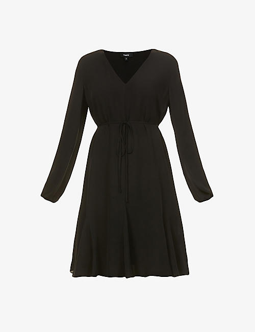 THEORY: V-neck silk-crepe mini dress