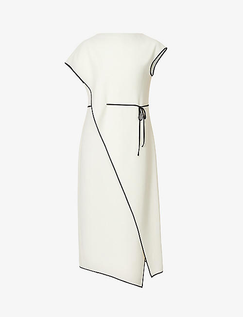 THEORY: Contrast-trim drape-panel crepe midi dress