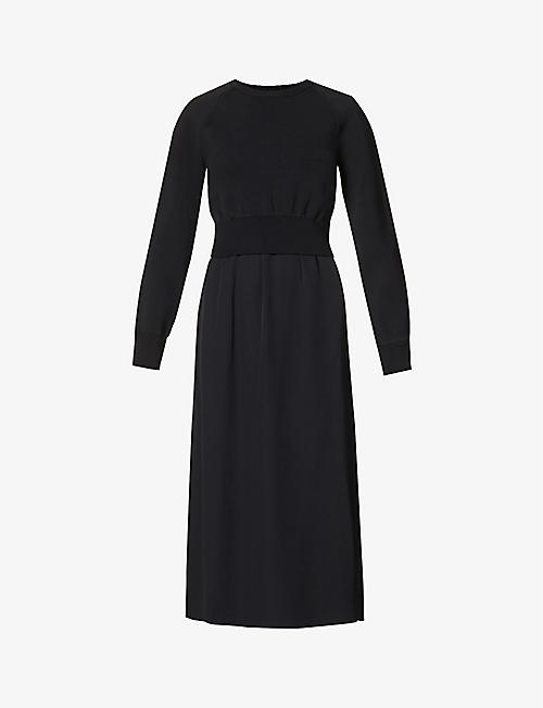 THEORY: Raglan-sleeve stretch-knit and silk-crepe midi dress