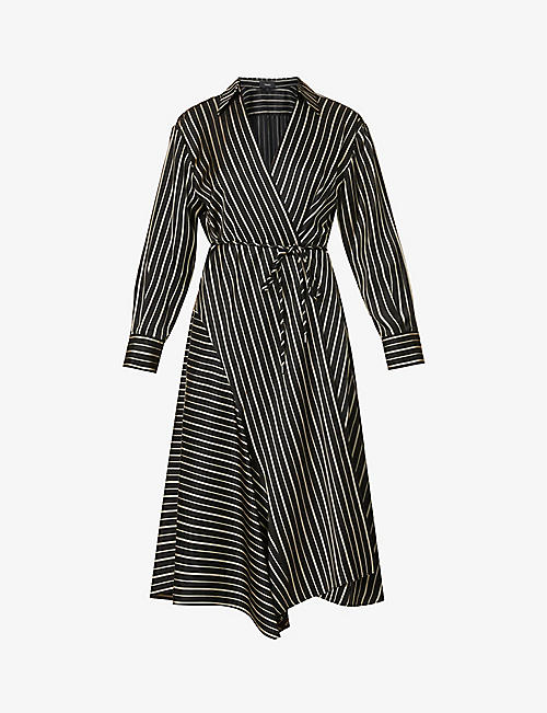 THEORY: Striped wrap midi dress