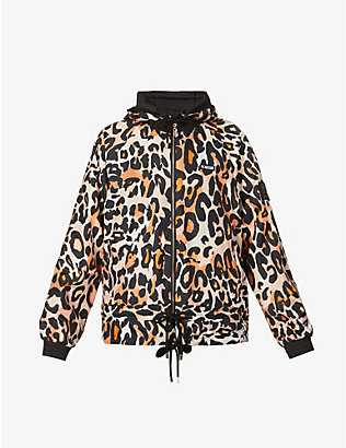 P.E NATION: Man Up leopard-print reversible shell jacket