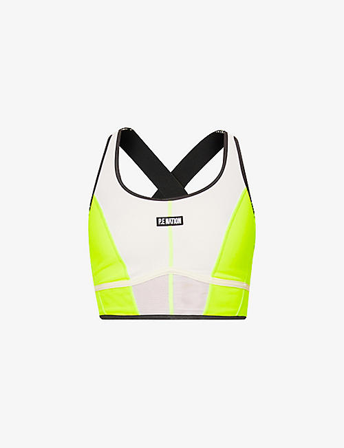 P.E NATION: First Position stretch-mesh sports bra