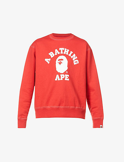 A BATHING APE: Logo-print cotton-jersey sweatshirt