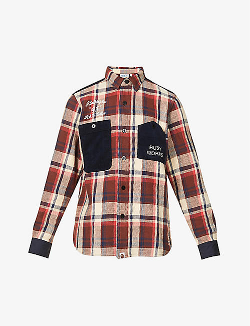 A BATHING APE: Checked graphic-print cotton shirt