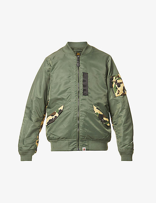 A BATHING APE: 1st Camo camouflage-panel shell bomber jacket