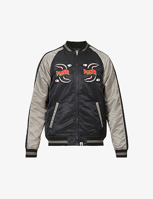 A BATHING APE: Shark Souvenir colour-blocked shell bomber jacket