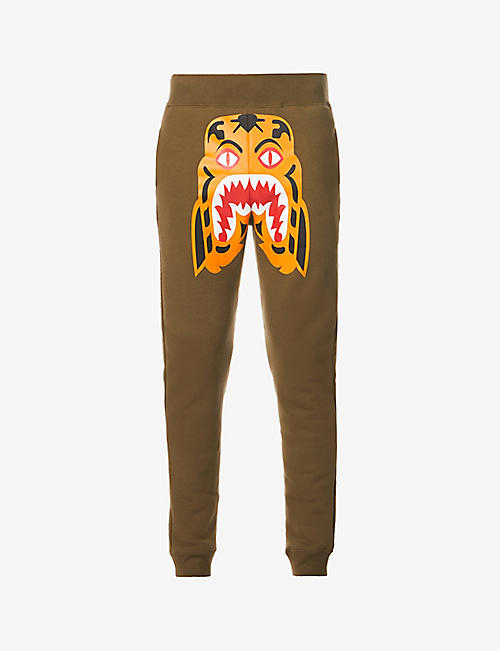 A BATHING APE: Tiger-print mid-rise cotton-jersey jogging bottoms