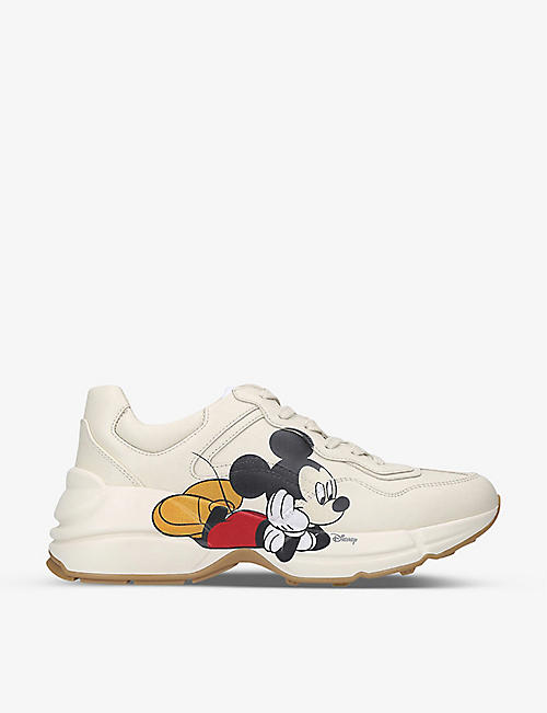 GUCCI: Women's Gucci x Disney Mickey Mouse Rhyton leather mid-top trainers