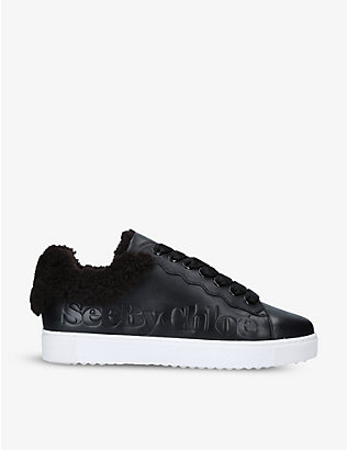 SEE BY CHLOE: Molly logo-embossed leather trainers