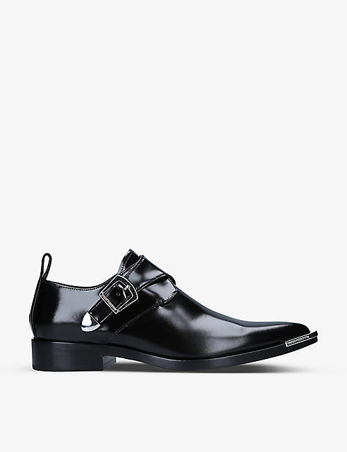 PACO RABANNE: Buckle-detail leather Derby shoes
