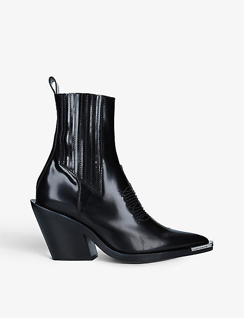PACO RABANNE: Logo-embossed leather Chelsea boots