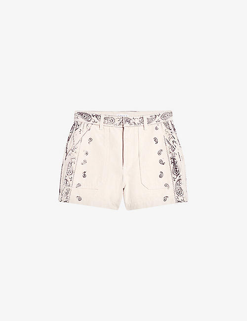 CLAUDIE PIERLOT: Eclipse paisley eco-wash high-rise jeans denim shorts