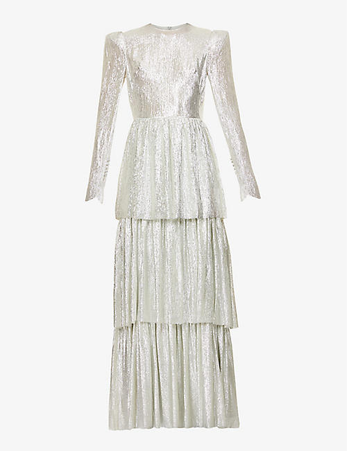 THE VAMPIRE'S WIFE: The Unrequited tiered metallic wool-silk blend maxi dress