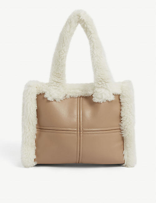 STAND: Liz faux-shearling shoulder bag