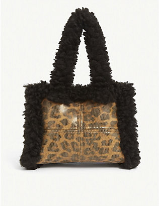 STAND: Liz faux-shearling and leopard-print shoulder bag