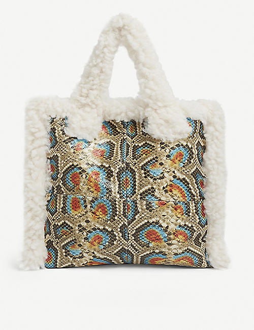 STAND: Lolita faux-shearling and snakeskin-effect tote bag