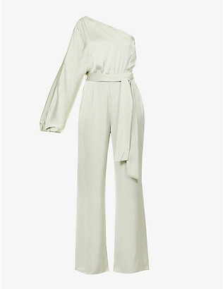 PRETTY LAVISH: Imogen one-shoulder satin-crepe jumpsuit