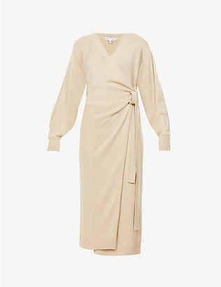PRETTY LAVISH: Beau wrap knitted midi dress