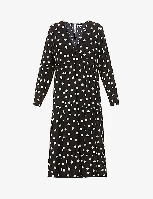 PRETTY LAVISH: Dotty polka dot-print woven midi dress