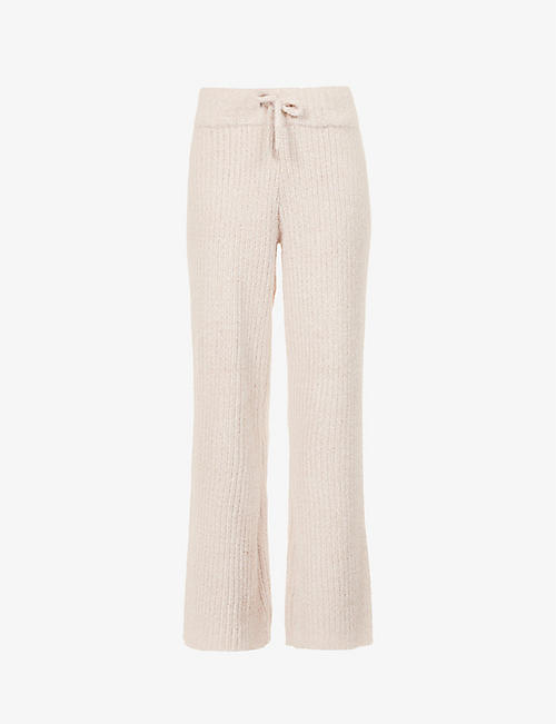 PRETTY LAVISH: Arden wide-leg high-rise knitted trousers